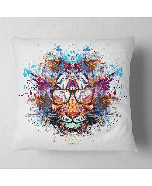 "Design Art Designart Colorful Tiger In Glasses Animal Throw Pillow - 16"" X 16"""