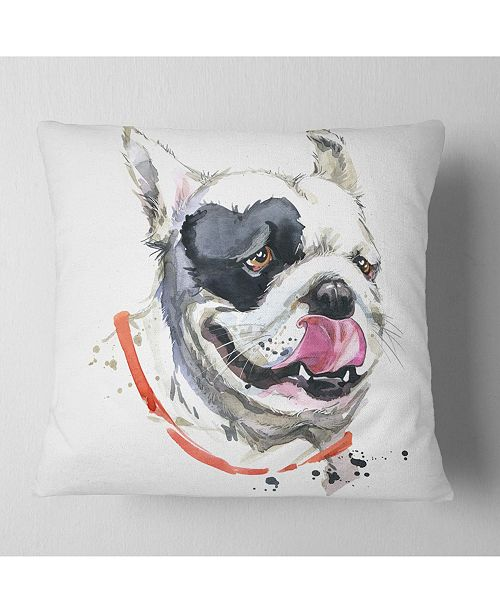 "Design Art Designart Kiss French Bulldog Illustration Animal Throw Pillow - 18"" X 18"""