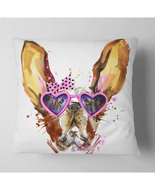 "Design Art Designart Brown Cute Dog With Heart Glasses Animal Throw Pillow - 18"" X 18"""