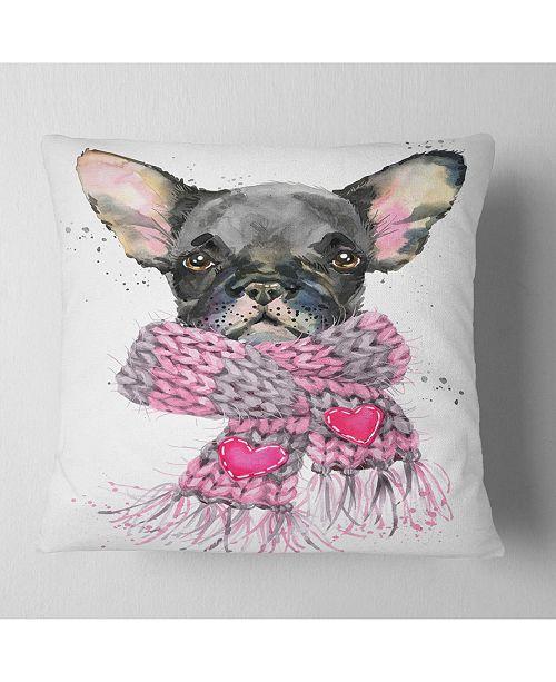 "Design Art Designart Cute Puppy Dog With Pink Shawl Animal Throw Pillow - 18"" X 18"""