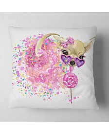 "Designart Sweet Pink Dog With Glasses Animal Throw Pillow - 16"" X 16"""