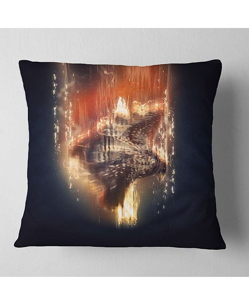 "Design Art Designart Large Falcon In Flight Animal Throw Pillow - 18"" X 18"""