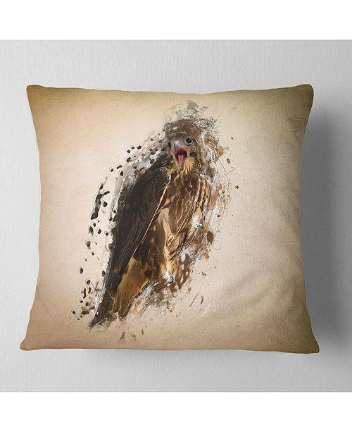 "Design Art Designart Abstract Falcon In Flight Animal Throw Pillow - 16"" X 16"""