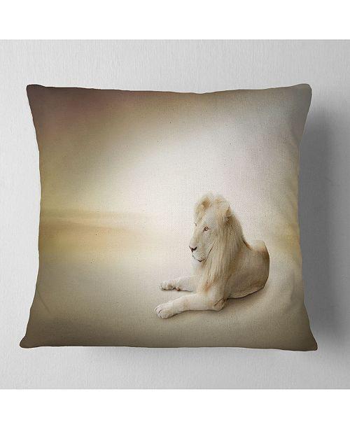 "Design Art Designart Relaxing King Of Animals Animal Throw Pillow - 18"" X 18"""