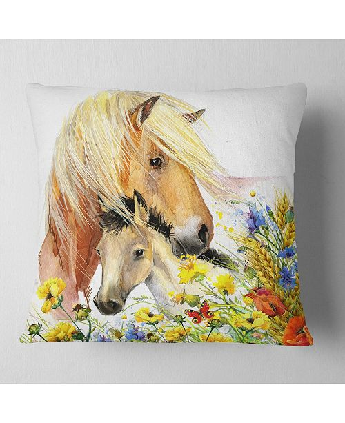 """Design Art Designart Horse And Foal With Meadow Animal Throw Pillow - 16"""" X 16"""""""