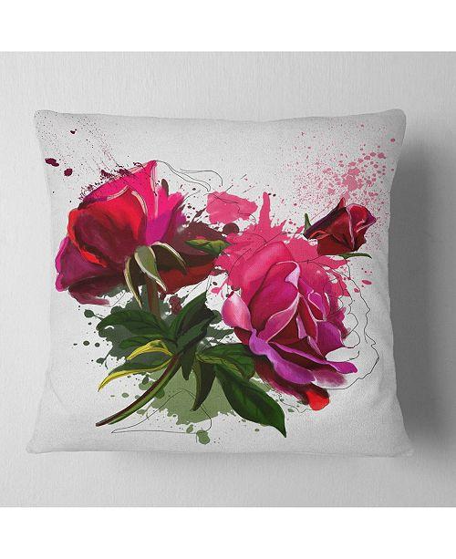 "Design Art Designart Red Peonies Sketch Watercolor Floral Throw Pillow - 18"" X 18"""