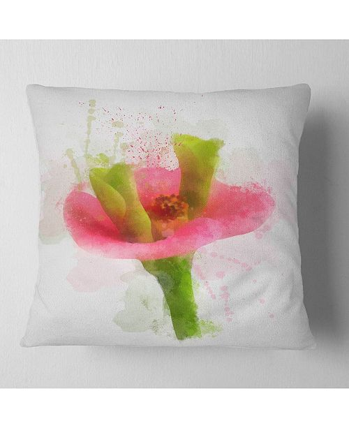 "Design Art Designart Green Red Flower Sketch Watercolor Floral Throw Pillow - 16"" X 16"""
