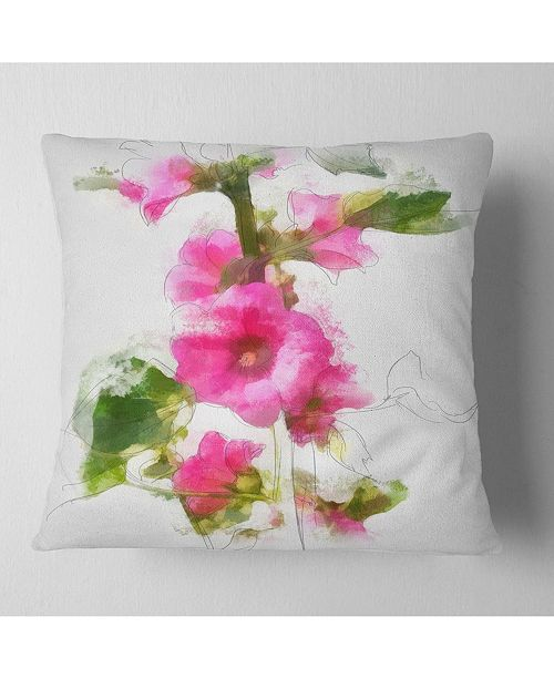 "Design Art Designart Pink Flower With Stem And Leaves Floral Throw Pillow - 16"" X 16"""