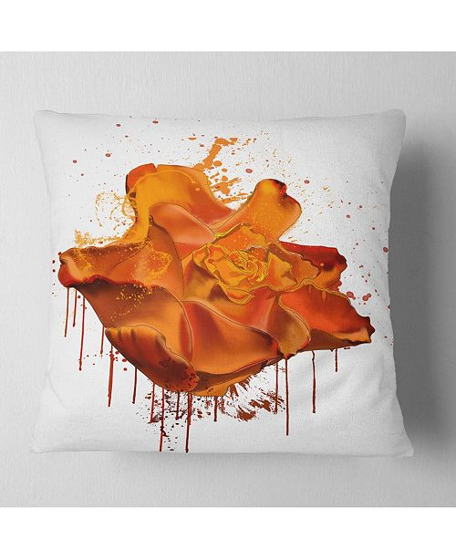 """Design Art Designart Abstract Brown Rose With Splashes Floral Throw Pillow - 18"""" X 18"""""""