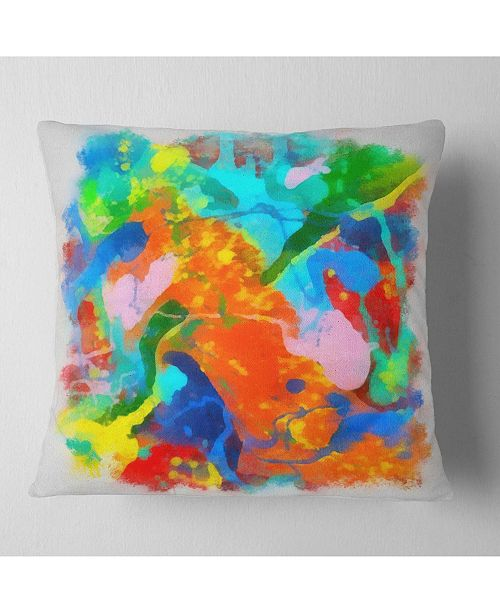 "Design Art Designart Hand Drawn Abstract Floral Pattern Floral Throw Pillow - 18"" X 18"""