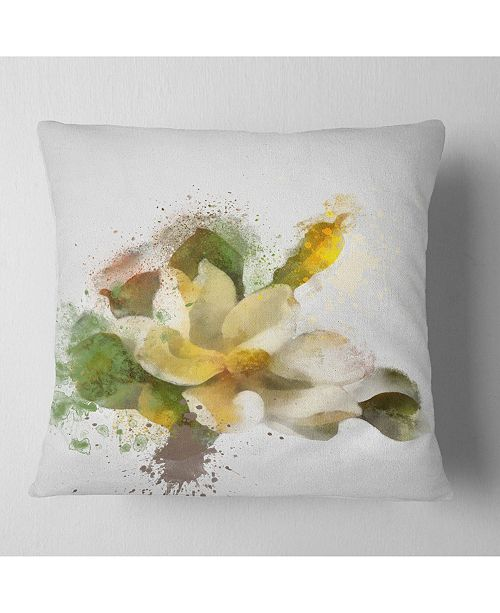 "Design Art Designart Beautiful Flower With Color Splashes Floral Throw Pillow - 18"" X 18"""