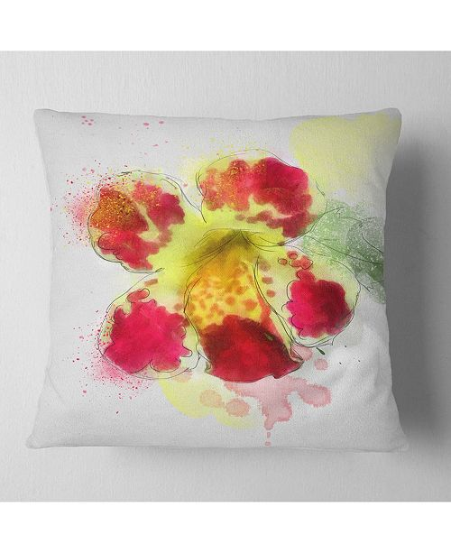 "Design Art Designart Flower Watercolor With Color Splashes Floral Throw Pillow - 18"" X 18"""