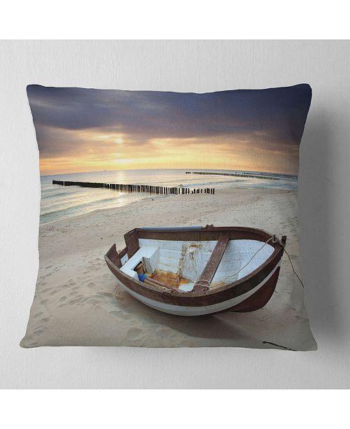 "Design Art Designart Boat On Beautiful Sunrise Seashore Beach Throw Pillow - 18"" X 18"""