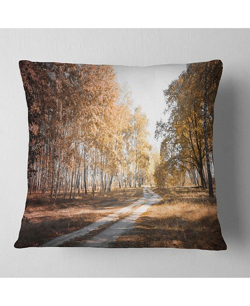 """Design Art Designart Straight Road In Fall Birch Grove Modern Forest Throw Pillow - 18"""" X 18"""""""