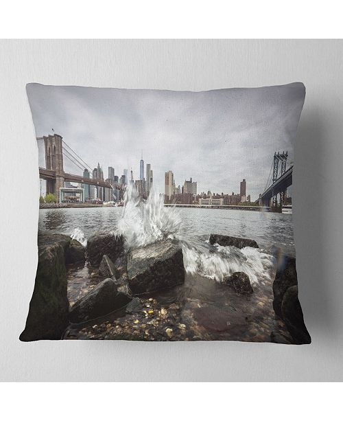 "Design Art Designart Skyline With Brooklyn Manhattan Bridges Cityscape Throw Pillow - 16"" X 16"""
