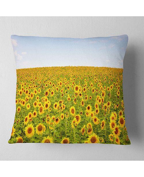 """Design Art Designart Beautiful Sunflowers Garden Floral Throw Pillow - 18"""" X 18"""""""