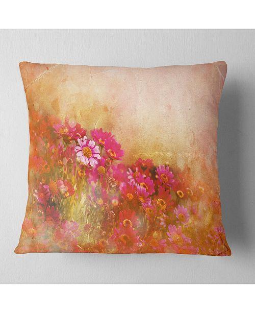 "Design Art Designart Beautiful Little Flowers In Spring Floral Throw Pillow - 18"" X 18"""