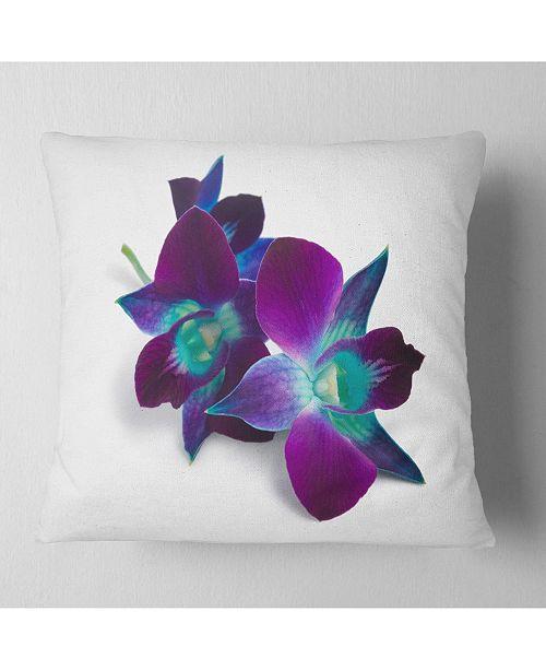 "Design Art Designart Deep Purple Orchid Flowers On White Flowers Throw Pillowwork - 18"" X 18"""