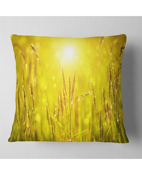 "Design Art Designart Yellow Grass Flower At Sunset Landscape Printed Throw Pillow - 18"" X 18"""