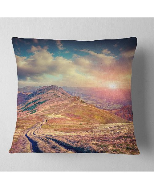 "Design Art Designart Amazing Autumn Landscape In Hills Landscape Printed Throw Pillow - 18"" X 18"""