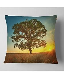 "Designart Big Green Tree In Summer Field Trees Throw Pillow - 18"" X 18"""