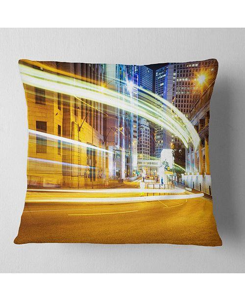 "Design Art Designart Blur Motion Traffic Trail In Modern City Throw Pillow - 18"" X 18"""