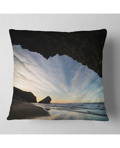 "Design Art Designart Monsul Beach During Sunset Seashore Throw Pillow - 18"" X 18"""