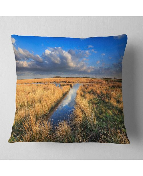 """Design Art Designart Meadow Land With Beautiful Skyscrapers Landscape Printed Throw Pillow - 16"""" X 16"""""""