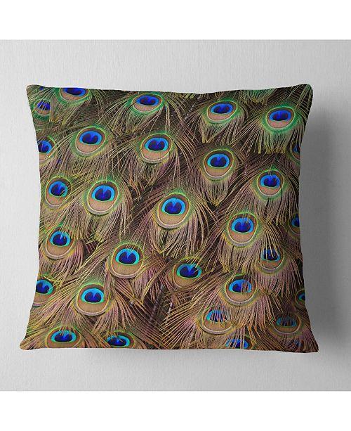 """Design Art Designart Peacock Bird Tail Feathers In Close Up Animal Throw Pillow - 16"""" X 16"""""""