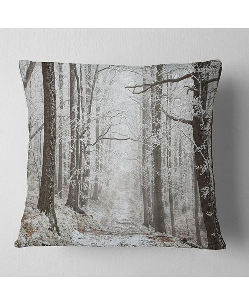 "Design Art Designart Forest Trail On Winter Morning Forest Throw Pillow - 18"" X 18"""