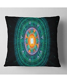"""Designart Cabalistic Turquoise Fractal Sphere Abstract Throw Pillow - 18"""" X 18"""""""