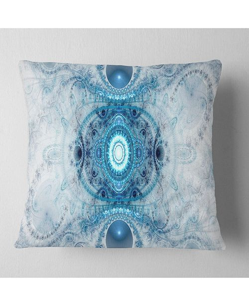 """Design Art Designart Light Blue Fractal Pattern Abstract Throw Pillow - 16"""" X 16"""""""