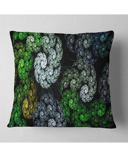 "Design Art Designart Bright Exotic Spiral Flowers Abstract Throw Pillow - 18"" X 18"""