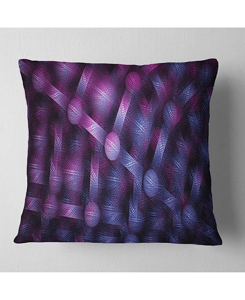 "Design Art Designart Crystal Cell Purple Steel Texture Abstract Throw Pillow - 16"" X 16"""