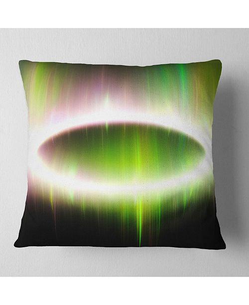 """Design Art Designart Beautiful Green Northern Lights Abstract Throw Pillow - 16"""" X 16"""""""