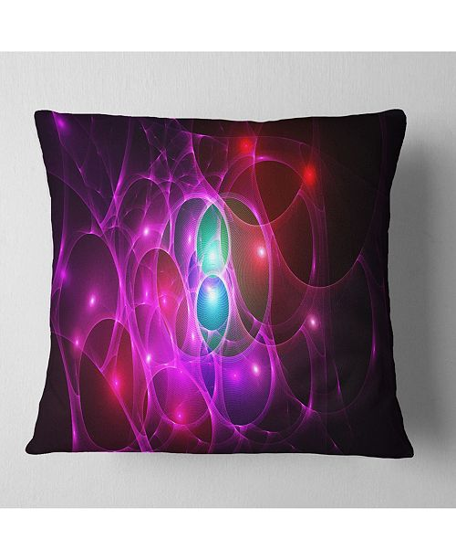 "Design Art Designart Pink Glowing Bubbles Time Abstract Throw Pillow - 18"" X 18"""