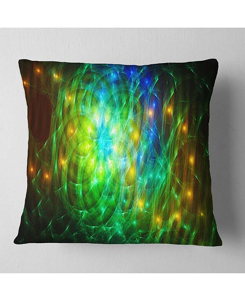 "Design Art Designart Green Fractal Symphony Of Colors Abstract Throw Pillow - 16"" X 16"""