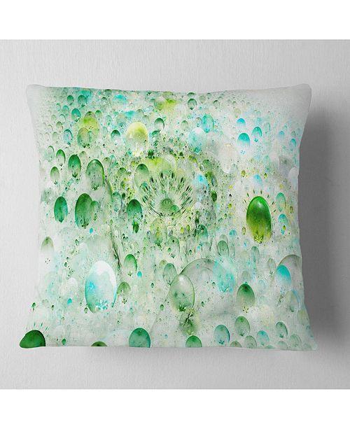 """Design Art Designart Green Blue Fractal Molecules Abstract Throw Pillow - 18"""" X 18"""""""