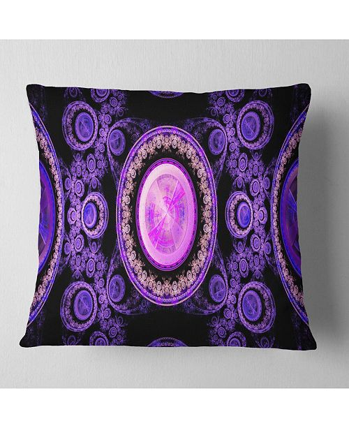 "Design Art Designart Purple Psychedelic Relaxing Art Abstract Throw Pillow - 16"" X 16"""
