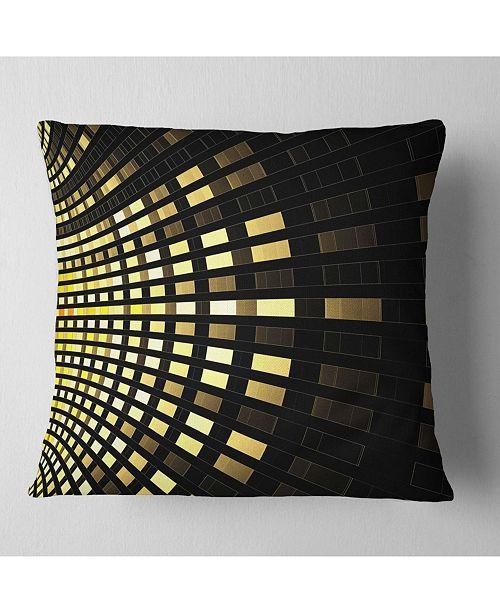 "Design Art Designart Abstract Fractal Gold Square Pixel Abstract Throw Pillow - 18"" X 18"""