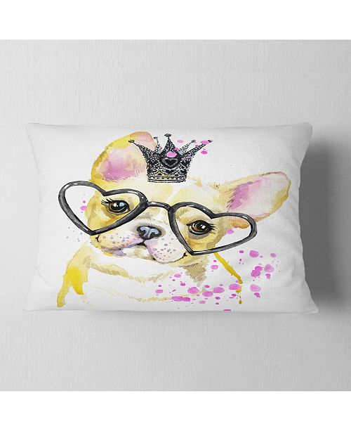 """Design Art Designart Funny Dog With Large Glasses Contemporary Animal Throw Pillow - 12"""" X 20"""""""