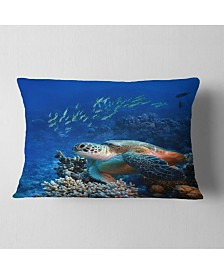 "Designart Large Sea Turtle Underwater Abstract Throw Pillow - 12"" X 20"""