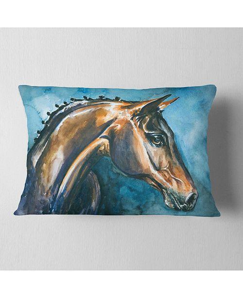 "Design Art Designart Brown Horse On Blue Watercolor Abstract Throw Pillow - 12"" X 20"""