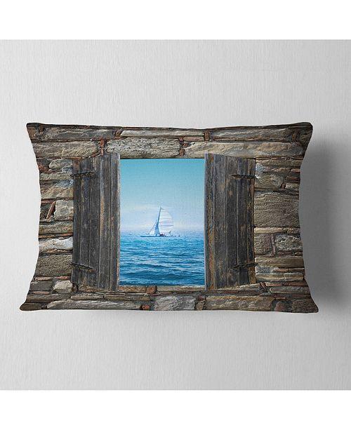 "Design Art Designart Window Open To Sailing Boat Seascape Throw Pillow - 12"" X 20"""