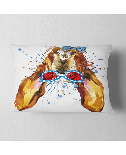 "Design Art Designart Funny Brown Dog With Glasses Animal Throw Pillow - 12"" X 20"""