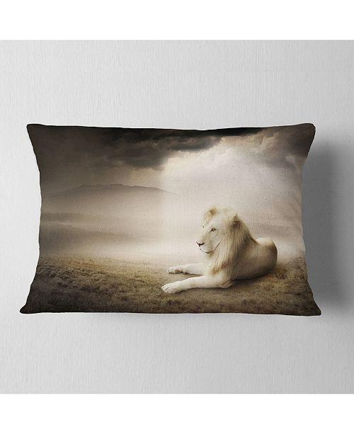 """Design Art Designart King Of Animals At Sunset Animal Throw Pillow - 12"""" X 20"""""""