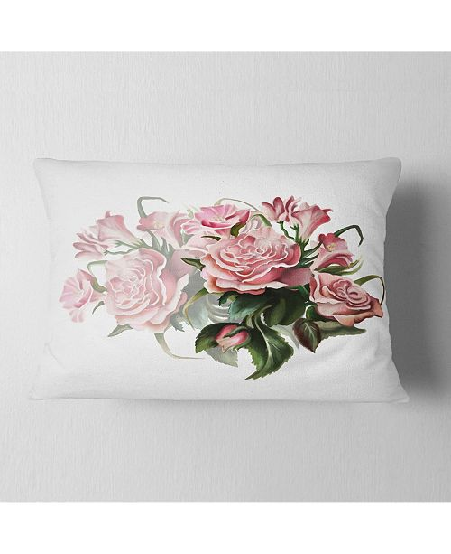 "Design Art Designart Pink Rose Bouquet Watercolor Floral Throw Pillow - 12"" X 20"""