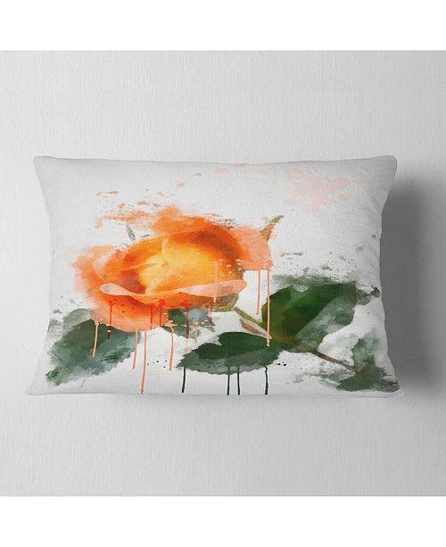 "Design Art Designart Orange Rose Sketch Watercolor Floral Throw Pillow - 12"" X 20"""