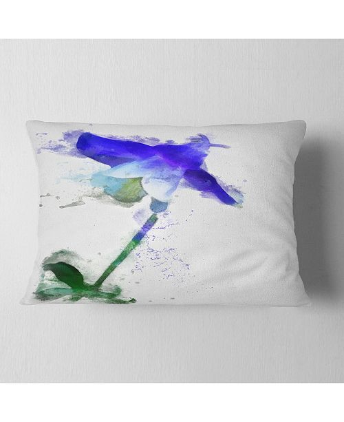 "Design Art Designart Blue Bellflower Sketch Watercolor Floral Throw Pillow - 12"" X 20"""