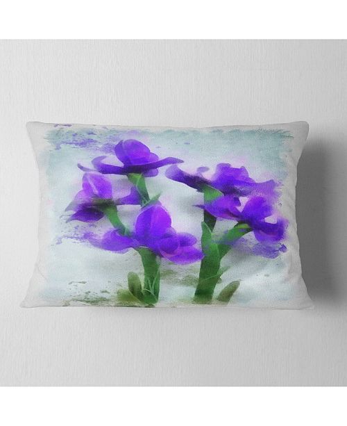 "Design Art Designart Blue Irises Illustration Watercolor Floral Throw Pillow - 12"" X 20"""